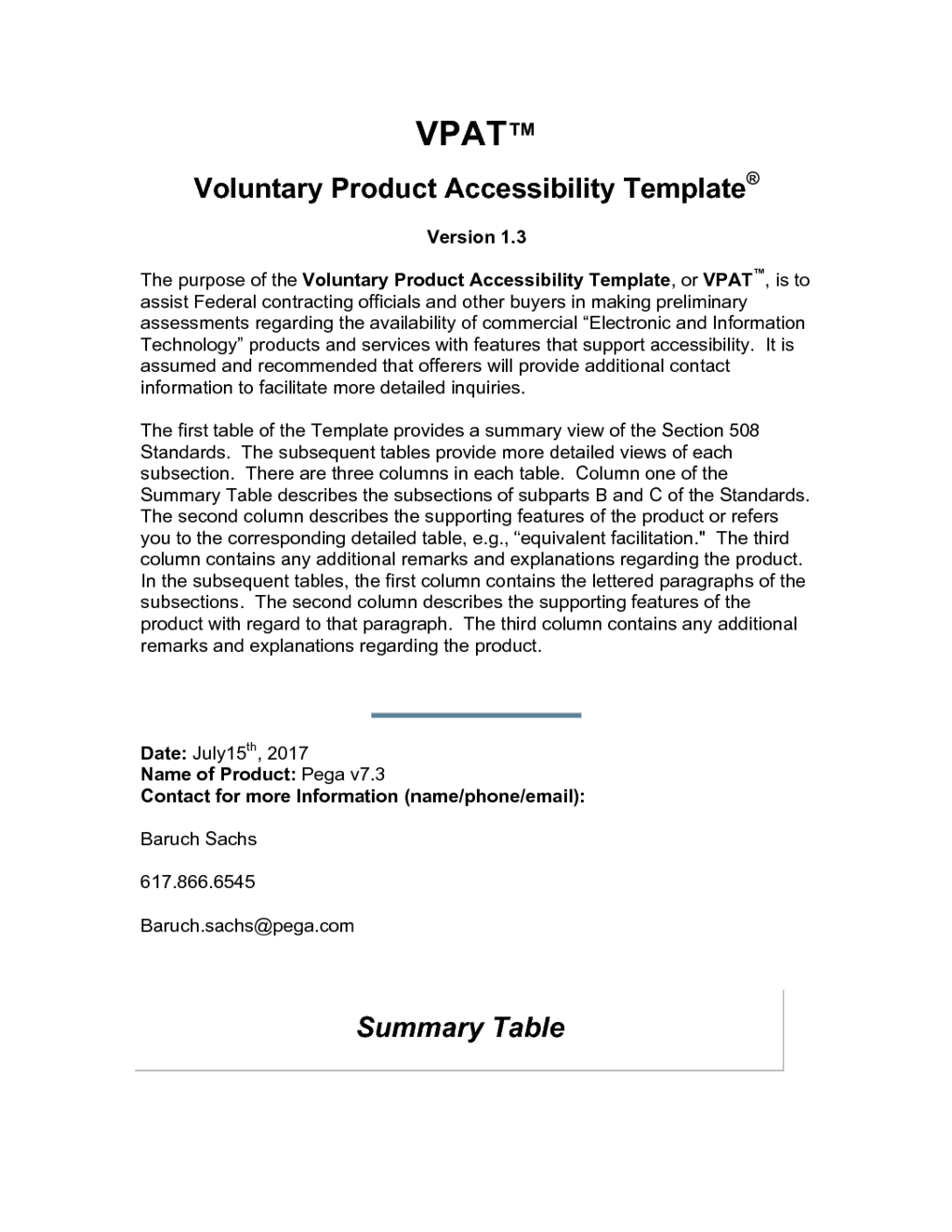 Voluntary Product Accessibility Template | Pega