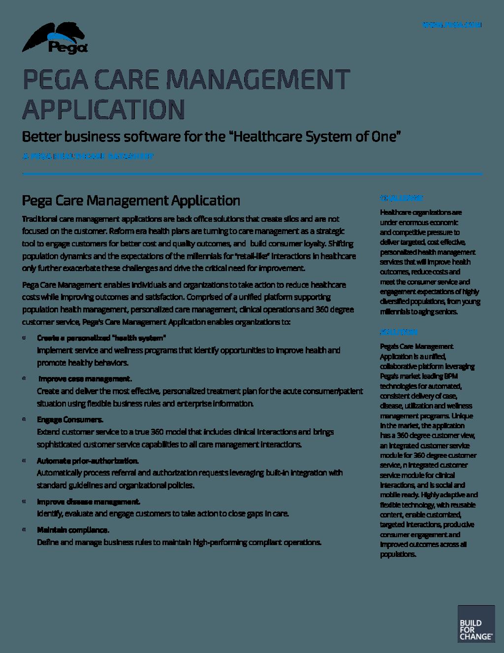 Pega Care Management Application | Pega
