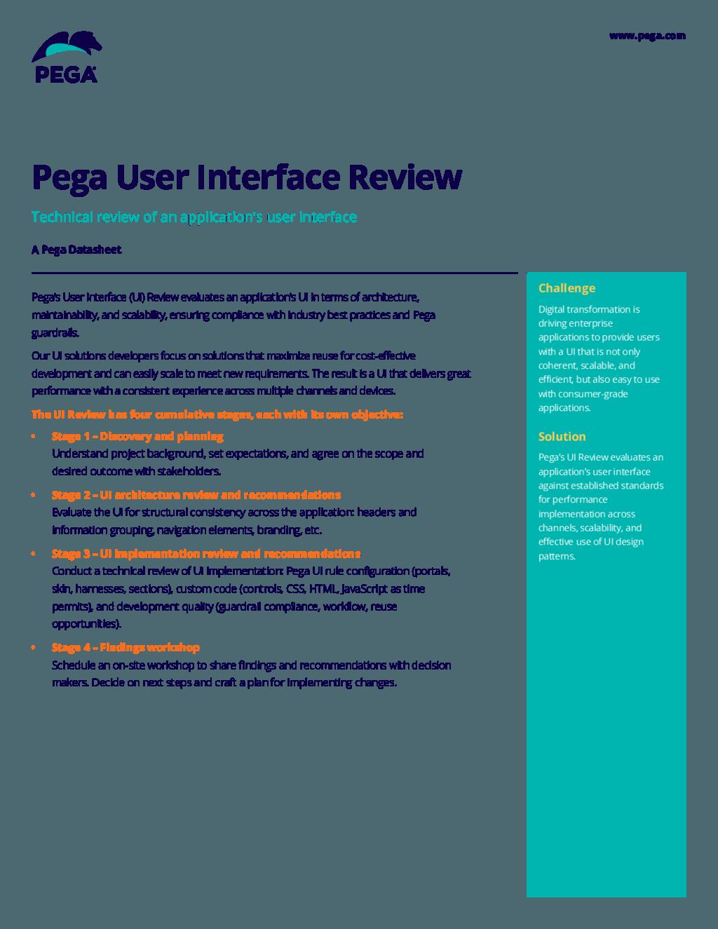 Pega User Interface Review Pega