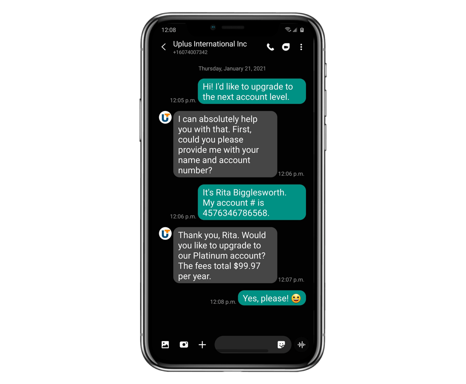 SMS chat screenshot