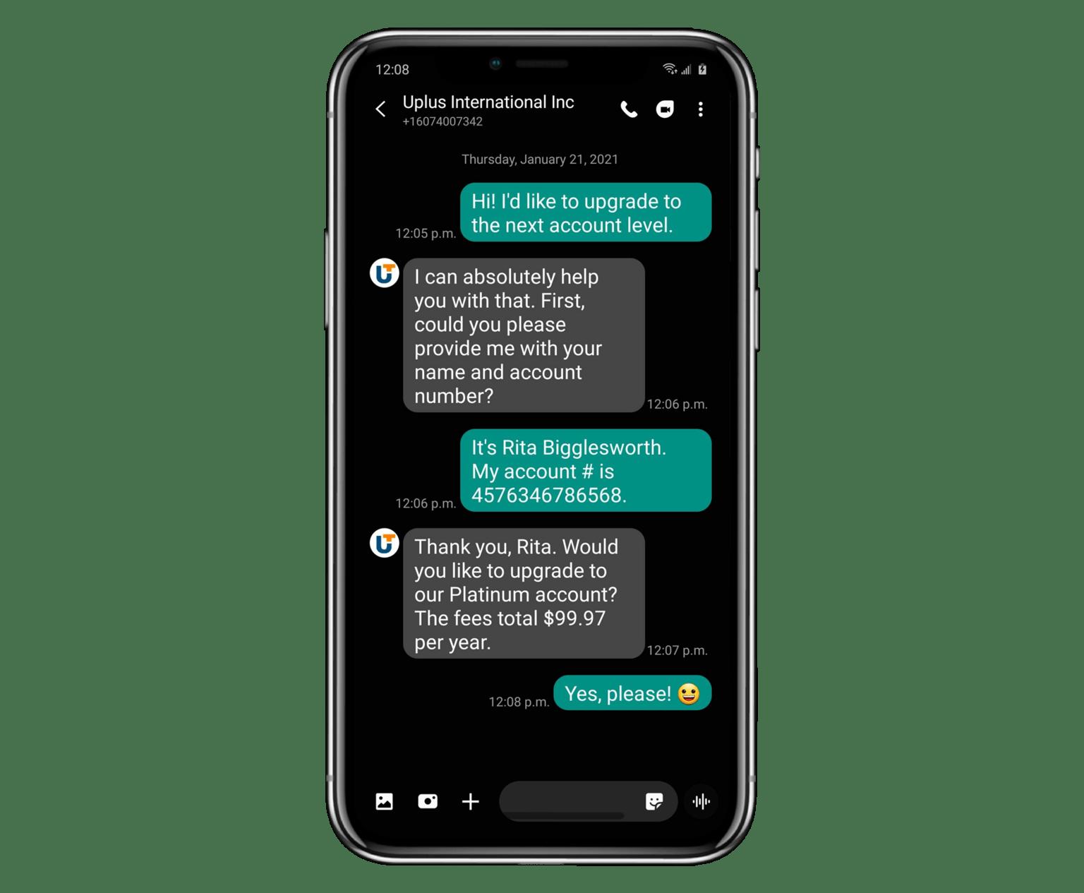 SMS chat screenshot