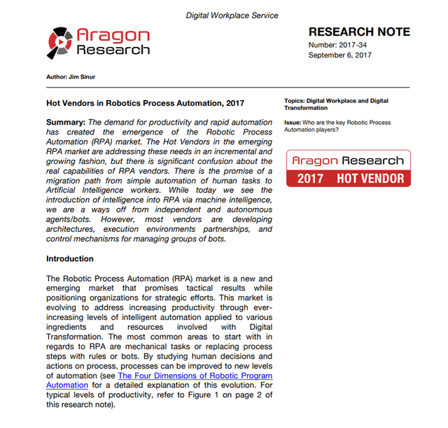 Pega Named a Hot Vendor in Robotic Process Automation by Aragon Research